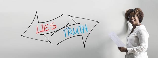 "Arrow with an inscription "" Lies and Truth"""